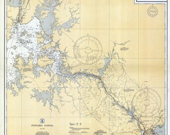 1934 Nautical Map of the Panama Canal