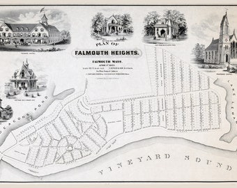 1873 Map of Falmouth Heights Falmouth Massachusetts