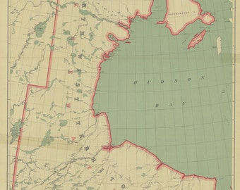 1911 Map of North West Territories Hudson Bay and Keewatin