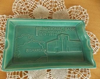 Vintage North Dakota Rosemeade 1st National Bank Bismarck Teal Ashtray
