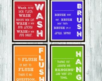 Wash, Brush, Flush, Hang Bathroom Wall Art 8x10