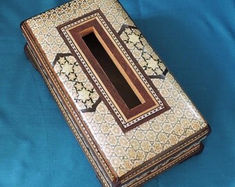 tissue box cover – wooden tissue box covers – beautiful decorated surface - rectangular tissue box cover - scatole tessuto- boite a mouchoir