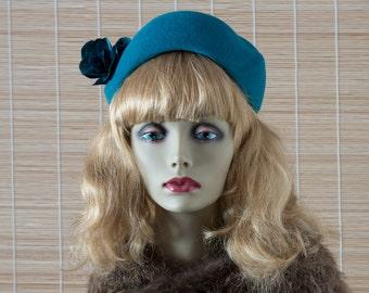 Retro Hat - Vintage Inspired Hat - Rockabilly Hat - Teal Retro Hat - Teal Ladies Hat - Turquoise Felt Hat - Retro Felt Hat - Teal 1950s Hat
