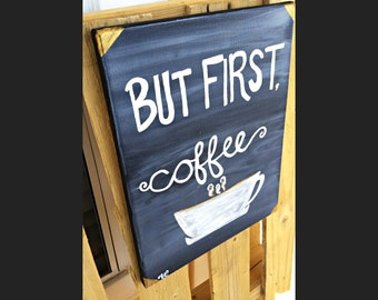 But First Coffee Painting, Hanging Canvas Painting, Hanging Painting, Canvas Painting, Kitchen Painting, kitchen painting, acrylic painting