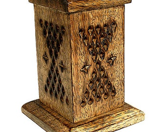 Wooden Tower Incense Cone Burner