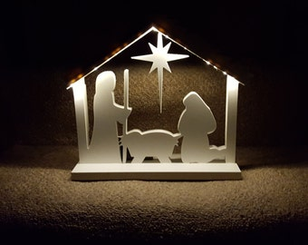 Indoor/Outdoor White Nativity Set