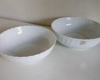lot of 2 Bernardaud Limoges white china bowls