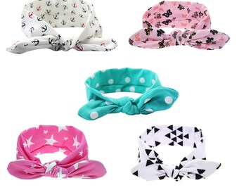 baby headbands,Newborn headband,turban headbands,set of 5 headbands