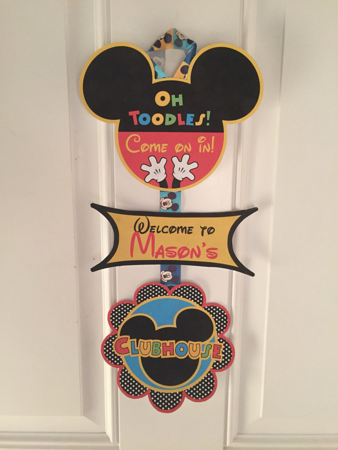 Mickey Mouse Birthday Door Sign Party Decorations