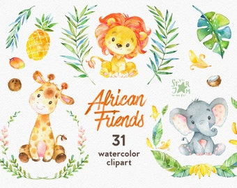 African Friends. Watercolor animals clipart, lion, elephant, giraffe, coconut, pineapple, banana, greeting, invite, flowers, floral, wreath