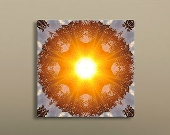 Sunrise Mandala | Visionary Art | Feng Shui Wall Decor - Fire Element | Sacred Geometry
