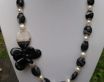 black agate freshwater pearl sterling silver necklace