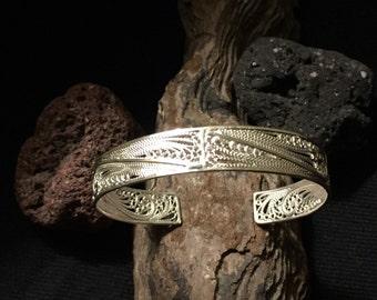 Silver Filigree Cuff bracelet boho style