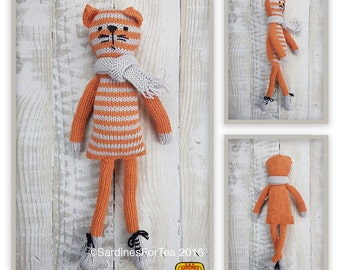 Knitted toy knitting pattern for Charlie the cat and scarf, PDF download