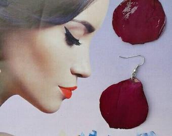 Dry flowers handmade rose petals earrings