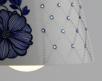 Ceiling Lighting- pendant lighting - hand painted ceramic lighting - hanging lighting - crystal lighting