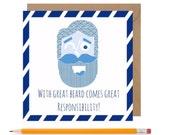 Funny Beard Birthday Card • Beard Humour Card • Hipster Card • Fathers Day Beard Card • Mens Beard Card
