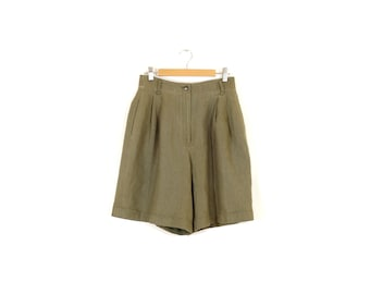 """30% OFF- Use code """"Summersale"""" / Vintage high waisted linen shorts / Olive green pleated linen shorts / 90s long linen shorts"""