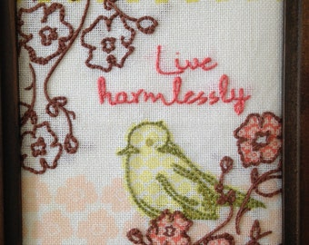 Live Harmlessly - embroidered picture and frame
