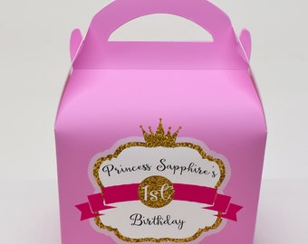 Customisable Princess Glitter Personalised Children's Party Box Gift Bag Favour