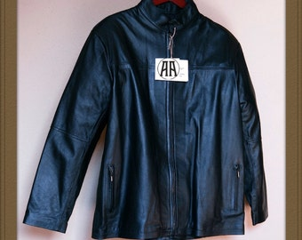 Denver: Light weight, Full grain Calf Skin Leather Jacket for Men