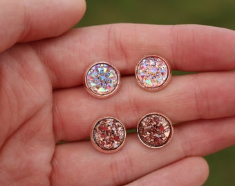 10mm Rose Gold Stud Earrings