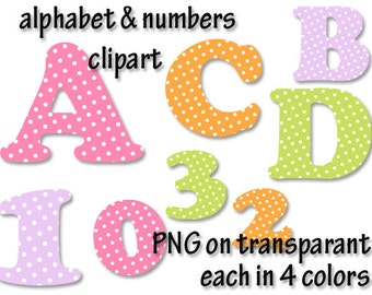 Alphabet clipart polka dots fonts, alphabet letters clipart, letters and numbers clipart, number clipart, Scrapbook supplies  PNG