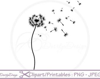 Dandelion clipart, Floral Clipart, Flower Clipart, Scrapbook Flowers, Clipart Flowers, Digital Wedding Clipart, PNG clipart Dandelion