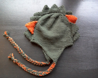 Dinosaur Hat - knitted kids winter hat with dinosaur plates and earflaps