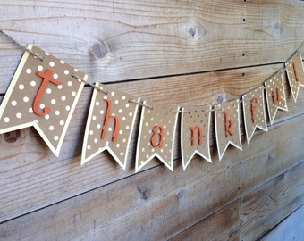 Thankful Banner-Orange and Gold Fall Banner-Fall Birthday Banner-Thanksgiving Banner- Fall Decor