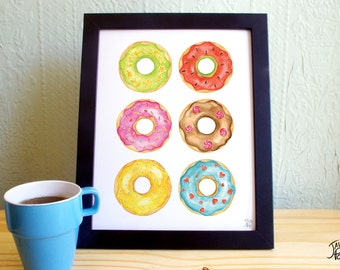 Watercolor donuts illustration - Instant download of a printable poster, letter or 8x10 format - JPG and PDF