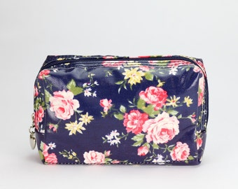 Small Makeup bag - Oilcloth zip pouch - Oil cloth Cosmetic case - Beauty pouch - Makeup organizer - Ladies Beauty case - Blue floral rose