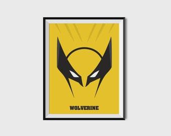 Wolverine X-Men Print - Minimalist, Marvel Comics, Comic Print, X-Men, Superhero Wall Art