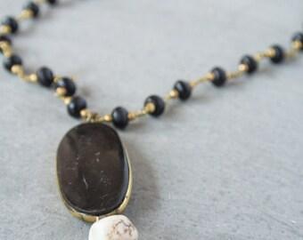 Black Horn Tassel Necklace
