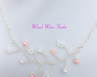 Vine Necklace with Swarovski pearls and Toho Beads