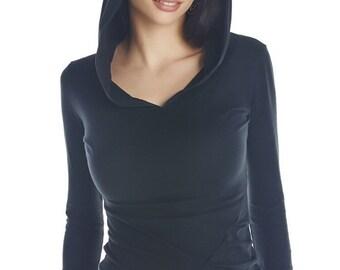 Women's hoodie long sleeves - comfortable soft top - steampunk pixie dance hoodie top - lakshmi top