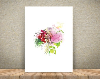 Rose bouquet – watercolour A3 art print