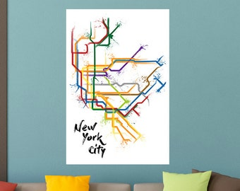 New York Train Map Poster