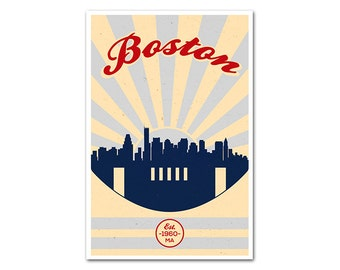 Boston Massachusetts Football Poster with a Vintage Look