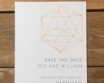Diamond Save the Date Printable Wedding Stationery, Personalised Digital PDF