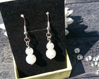 Moonstone stainless steel crystal earrings, moonstone crystal earrings, crystal earrings, stainless steel earrings