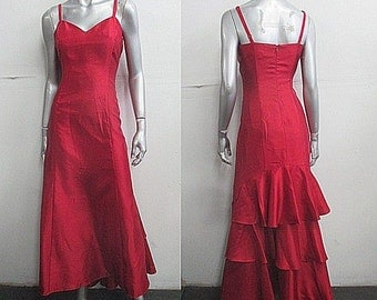 Vintage 90s Scarlet Red Sweetheart Ruffle Trim Party Formal/Prom Gown/Dress