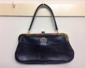1960's Roger Van S. Black Pebbled Leather Clutch