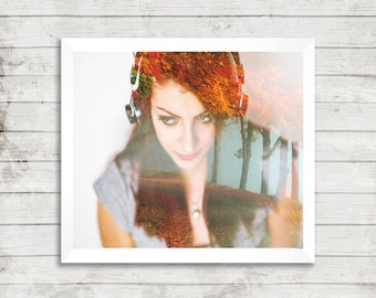 Double exposure, beautiful girl, listening to music, misty forest, digital print, living room print