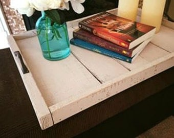 Rustic Wooden Coffee Table Tray; Decorative Box; Wood Box Centerpiece;  Pallet Wood Tray