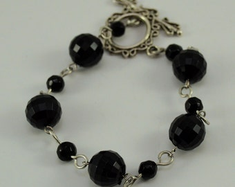 8 Inch Obsidian Bracelet, Wired worked, Silver wire and toggle, Healing Jewelry, simple bracelet, black and silver