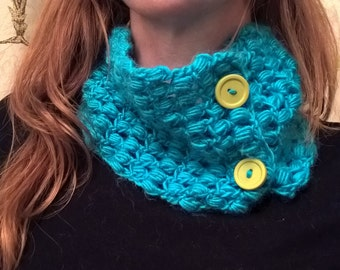 Puff Stitch Neckwarmer/Cowl: 2 ways