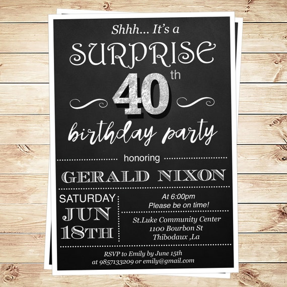 Surprise 40th Birthday Invitation Adult By DIYPartyInvitation