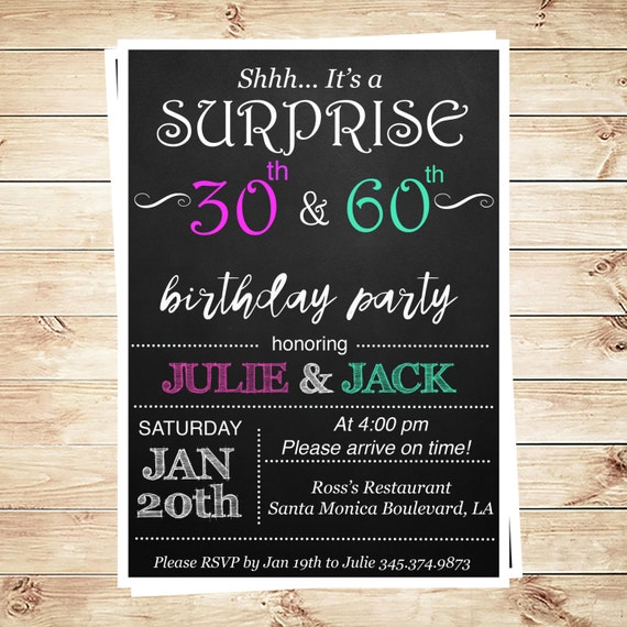 Printable Joint Birthday Party Invitations ~ Joint birthday party invitations for adults by diypartyinvitation
