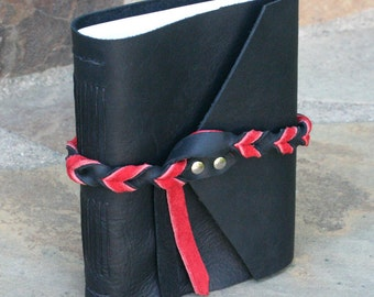 Black & Red Hand-bound Leather Journal